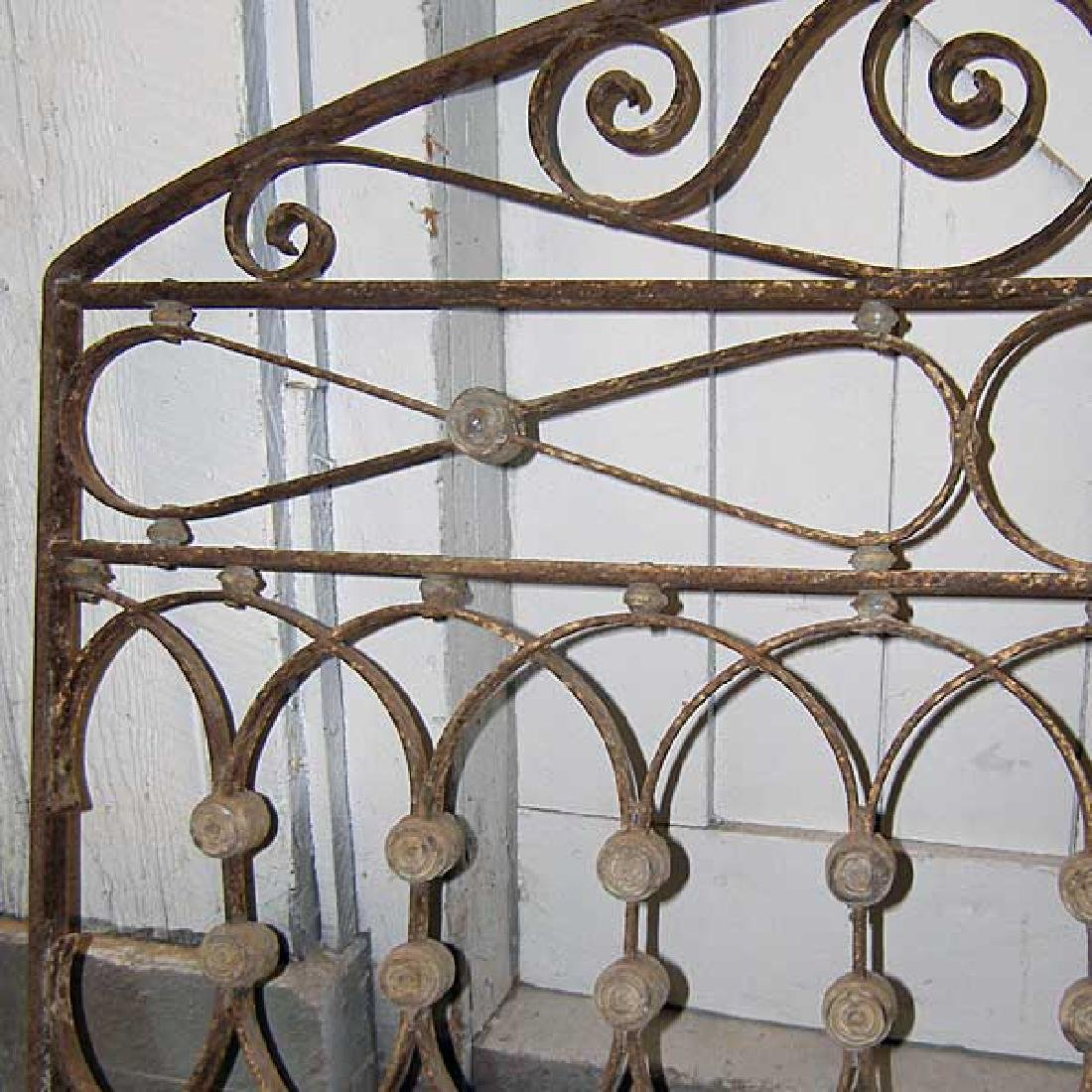 French Wrought Iron & Zinc Arched Transom Grille - 2