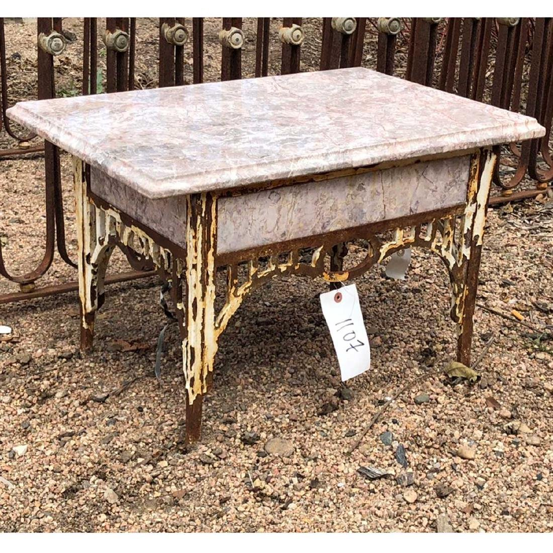 Small Victorian Painted Iron & Marble Garden Table