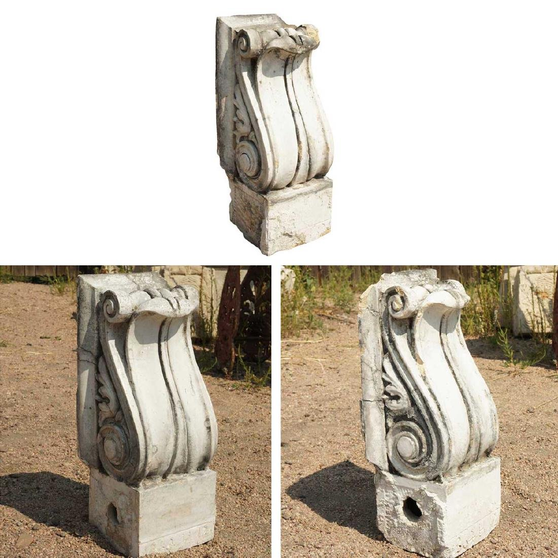3 American Neoclassical Terracotta Scroll Brackets