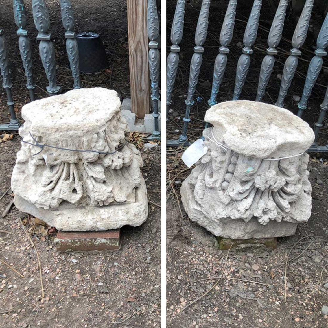 Pair Limestone Pillar Tops