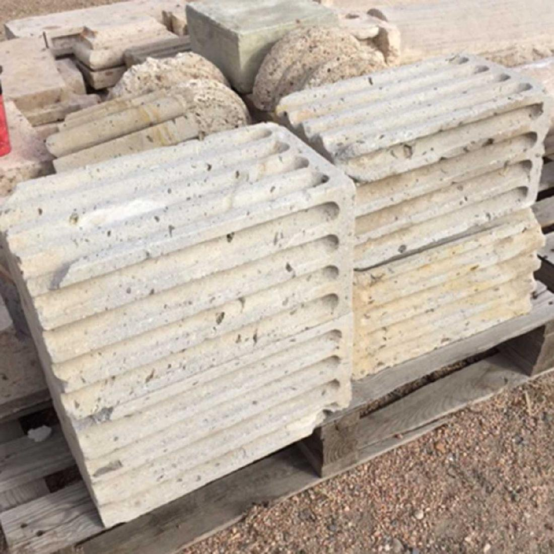 4 Spanish Colonial Cantera Stone Fluted Low Colums