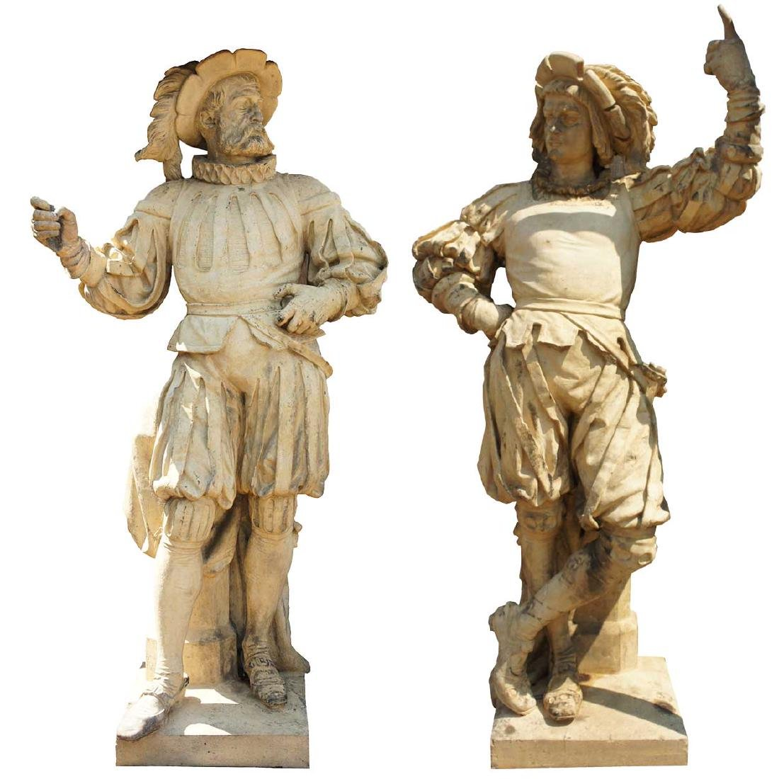 Important Pair ALEXANDER CALANDRELLI Lansquenet Statues