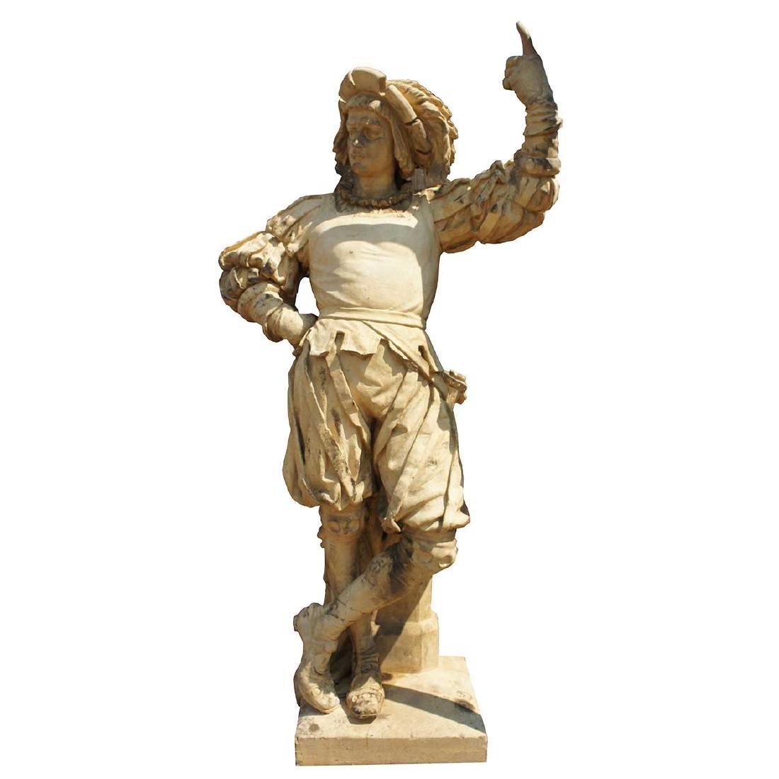 Important Pair ALEXANDER CALANDRELLI Lansquenet Statues - 2