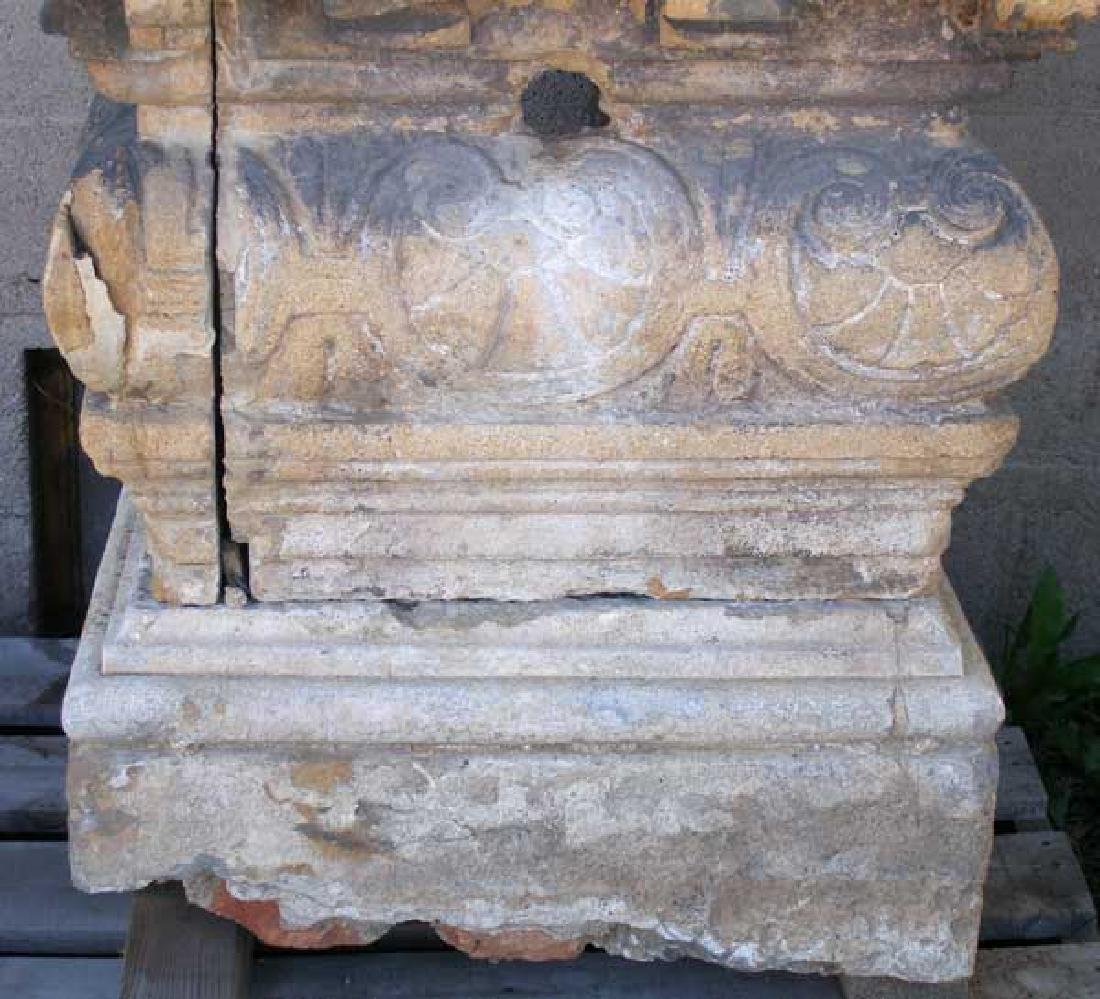 Large Rare French Village Limestone Covered Well Head - 3