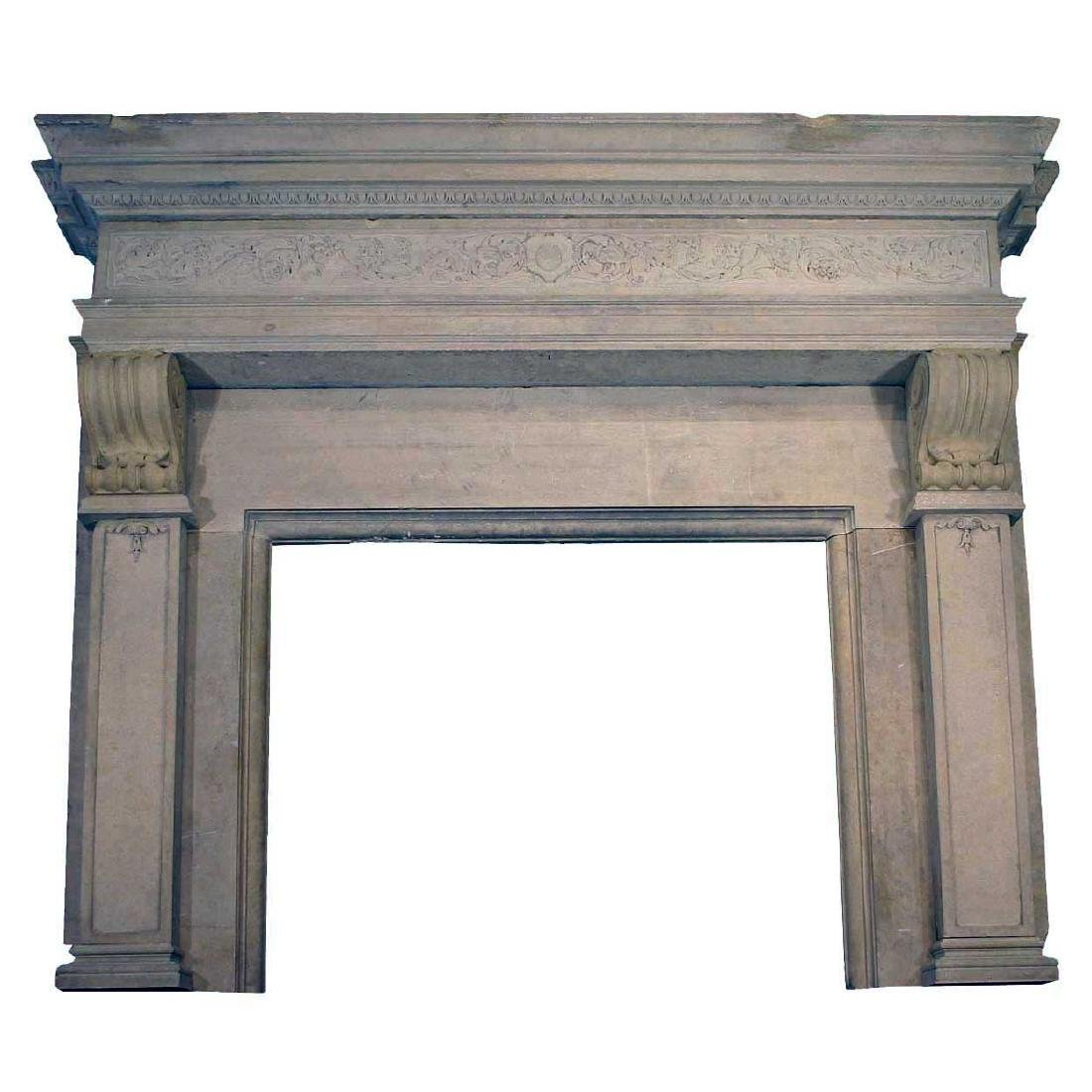 Large French Renaissance Style Marble Fireplace