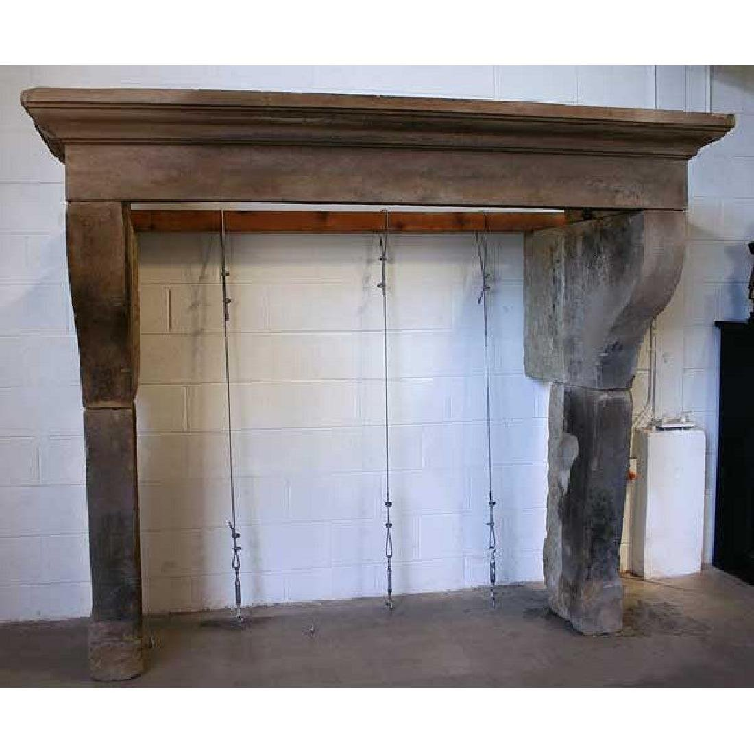 French Louis XIII Style Limestone Fireplace Surround - 2