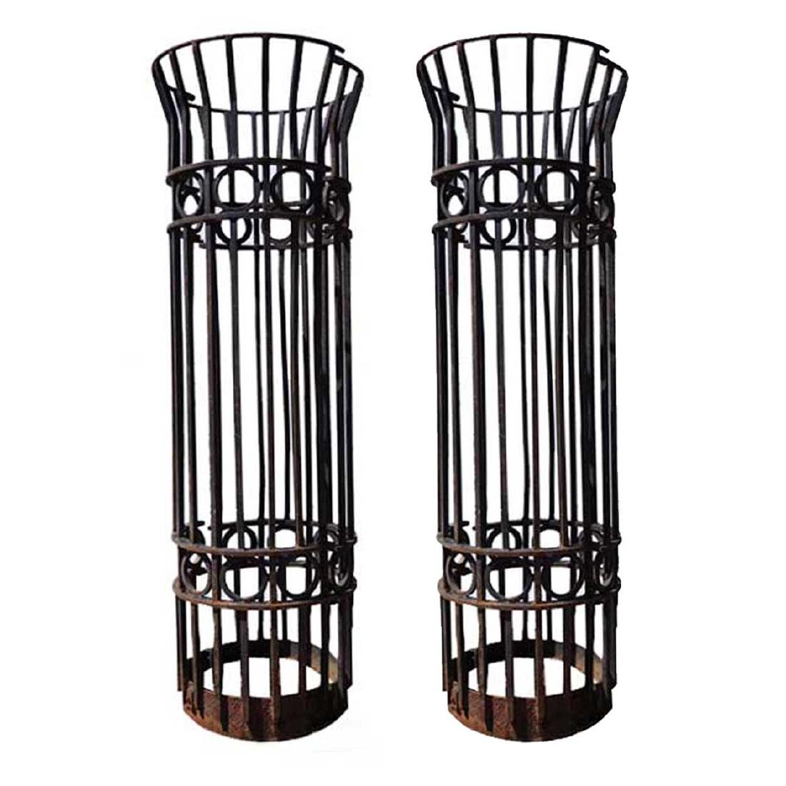 Pair Victorian Style Wrought Iron Tree Guards