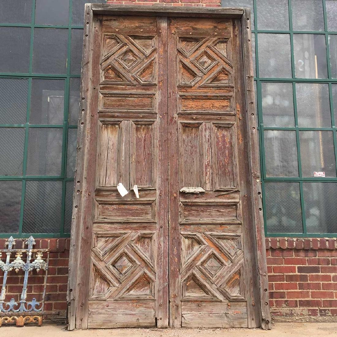 Moorish Painted Pine Double Door with Frame