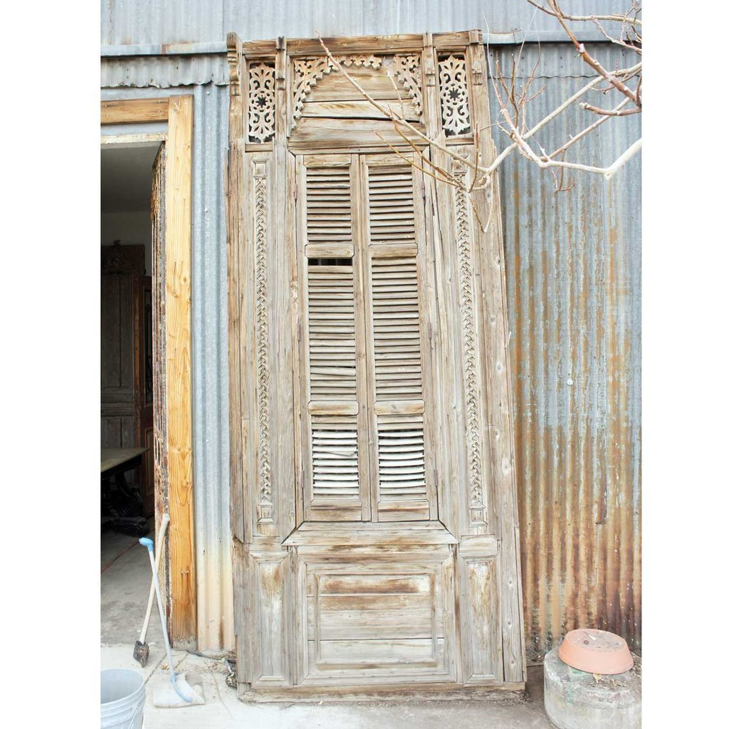 Large French Colonial Pine Window with Shutters