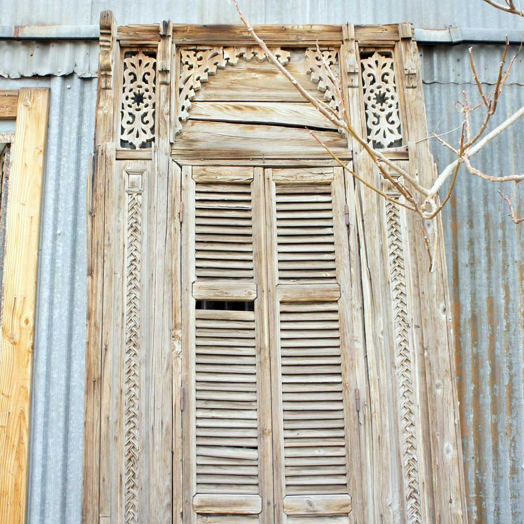Large French Colonial Pine Window with Shutters - 2