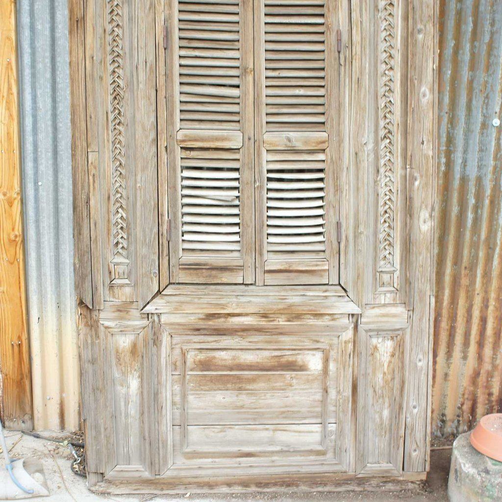 Large French Colonial Pine Window with Shutters - 3