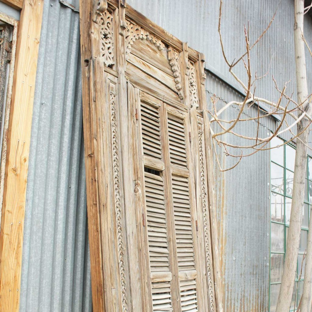Large French Colonial Pine Window with Shutters - 4