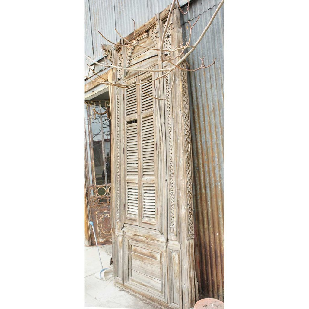 Large French Colonial Pine Window with Shutters - 5