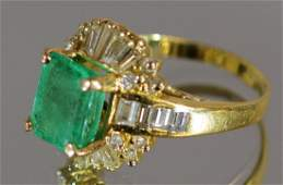 18k Yellow Gold Emerald  Diamond Ladies Ring Set