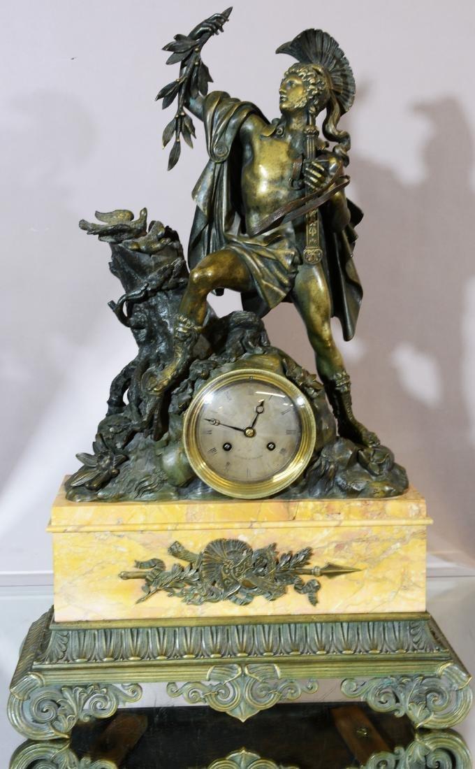 French C. 1840 Horiot a Paris Bronze Figural Clock