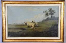 Antique Painting Landscape Oil on Canvas