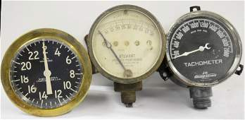 Three Early Tachometers and Speedometers
