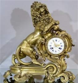 Rare Tiffany Lion Figural Clcok