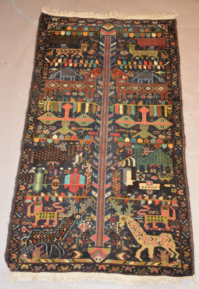 Semi-Antique Persian Tribal Pictorial Carpet