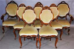 Set of Eight English Walnut Dining Room Chairs
