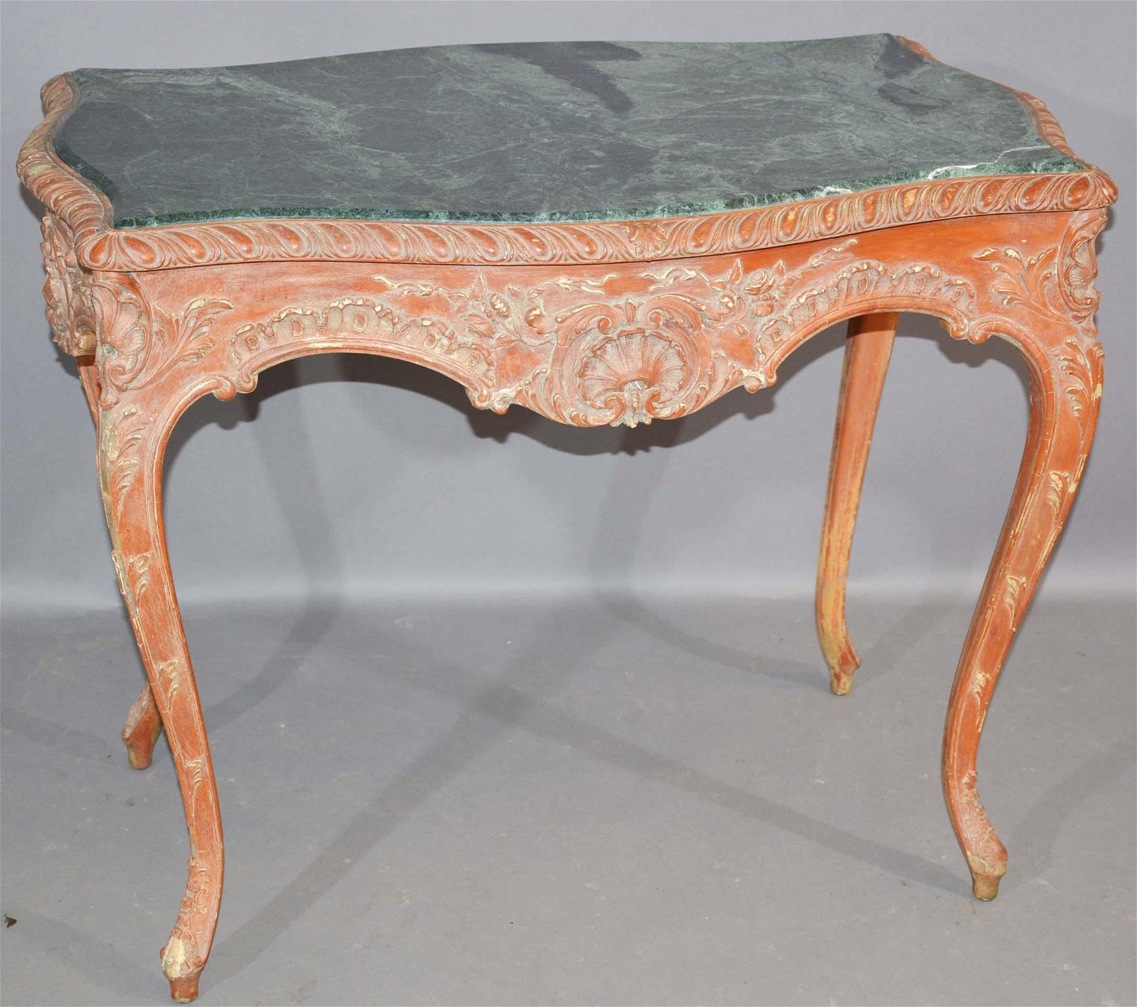 French Louis XV Style Marble Top Parlor Table