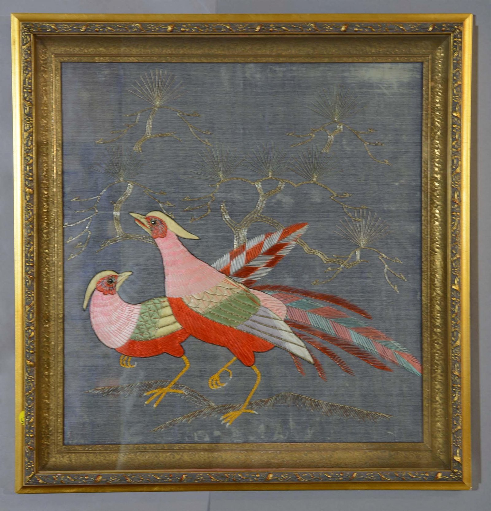 Antique Chinese Silk Embroidery of 2 Birds