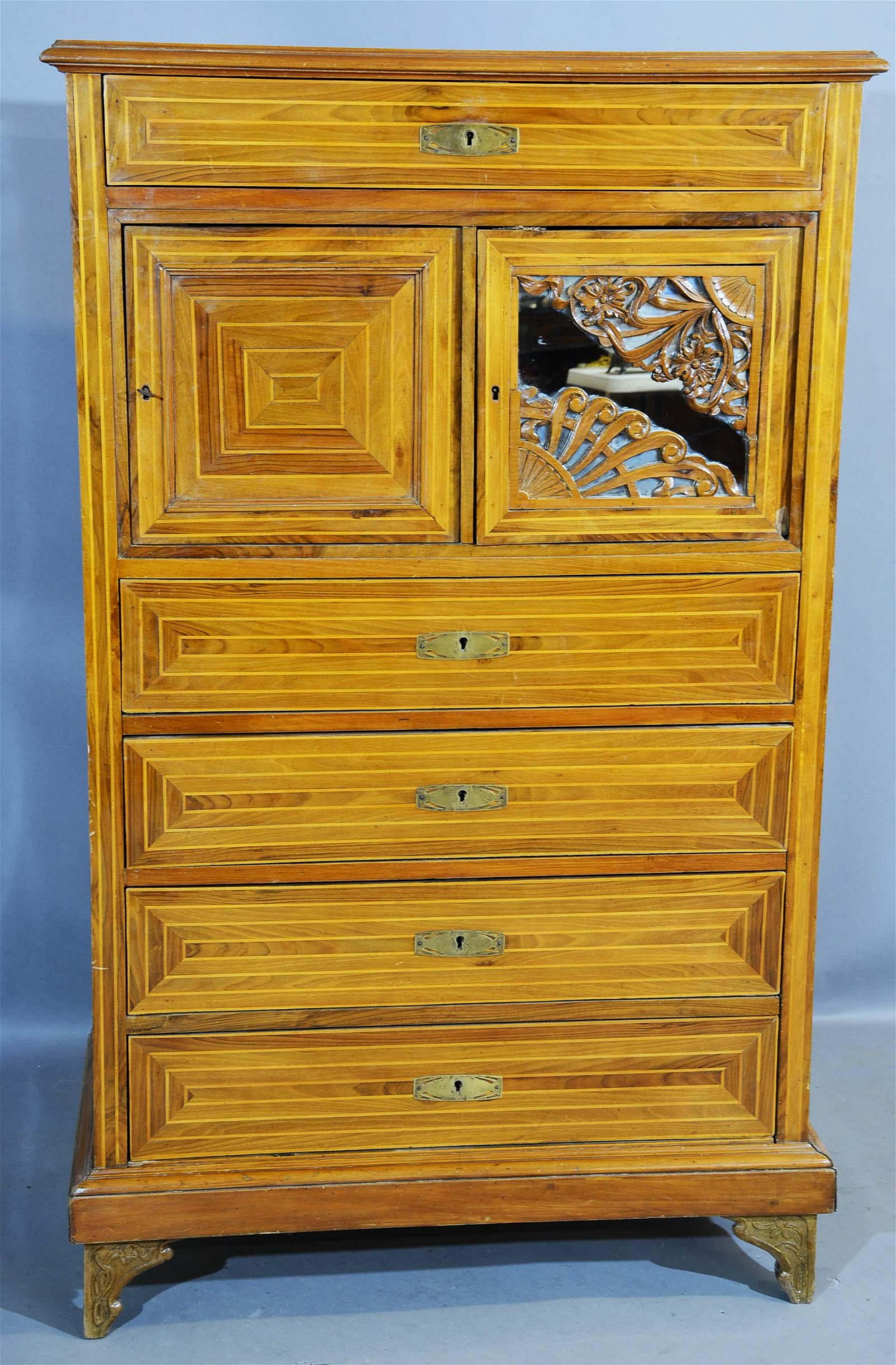 French Art Nouveau Walnut Tall Chest