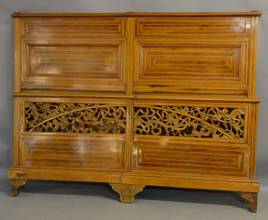 French Art Nouveau Walnut Queen Size Bed