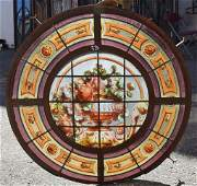 French Louis XV Stained Leaded Glass Window