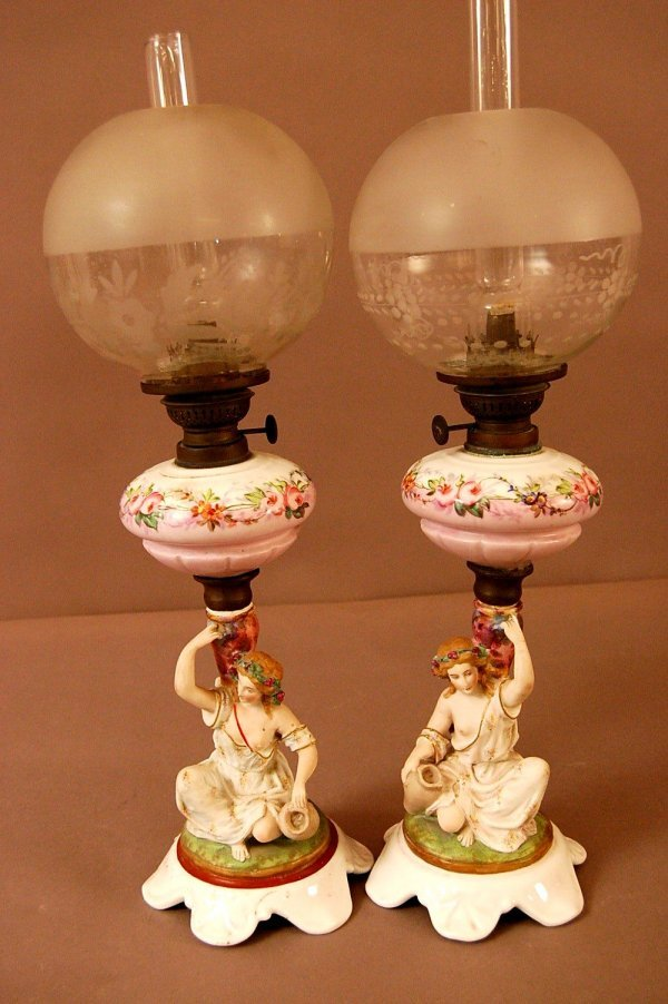 13: Bisque Figural Lamps