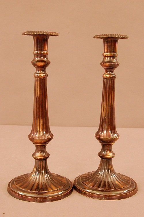 3: Pair of Plated Candle Stands