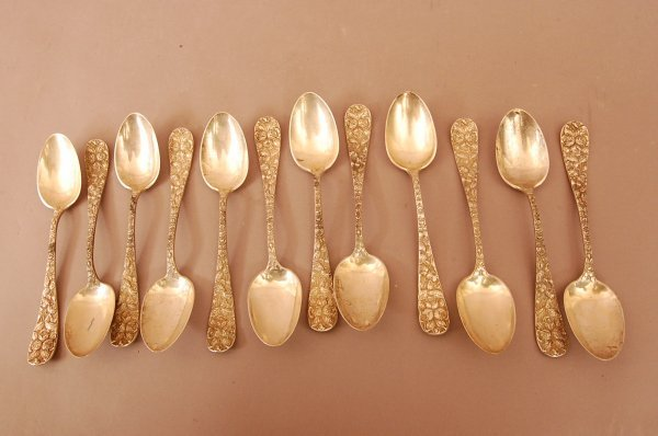 13: 11 Sterling Silver Table Spoons