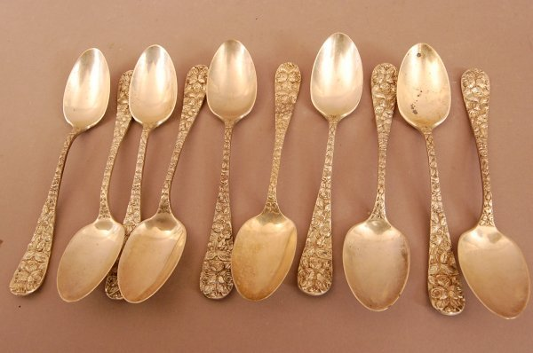 14: 10 Sterling Silver Spoons