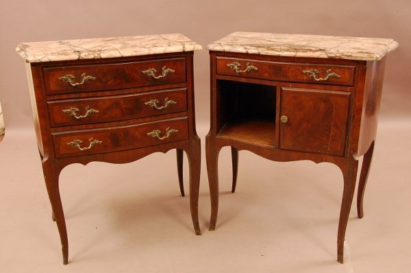 18: Pair French Louis XV Walnut Marble Top side tables