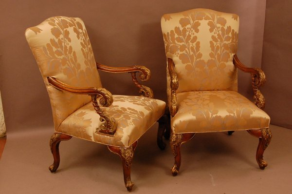 19: Pair of French Style walnut Arm Chairs