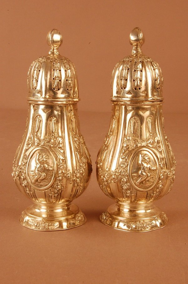 3: Pair of French Silver Salt & Pepper Shakers Swag & C