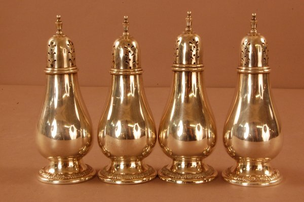 """4: Set of 4 """"Prelude"""" Sterling Silver Salt & Peppers In"""