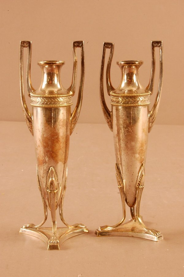 17: Pair of Silver Plate Vases. Classical Design on 3 F