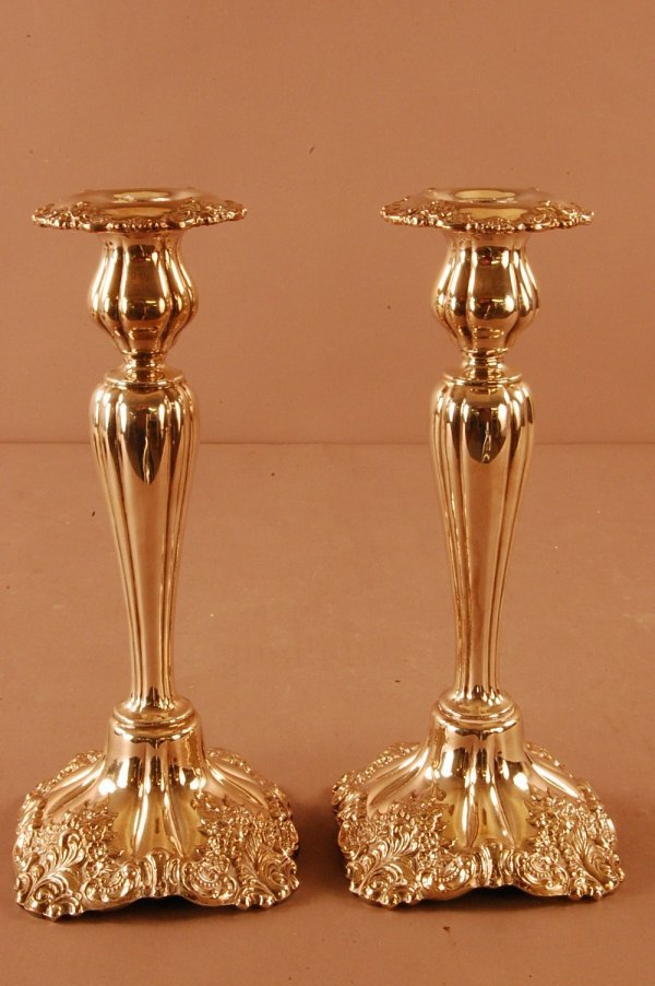 """19: Pair of Wallace """"Baroque"""" Candlesticks Silverplate"""