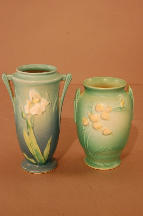 """20: Pair of Roseville Vase 6 1/2"""" Green Pattern # 853,"""