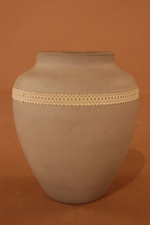 21: Denver Art Pottery Vase. Blue Matte with White Latt