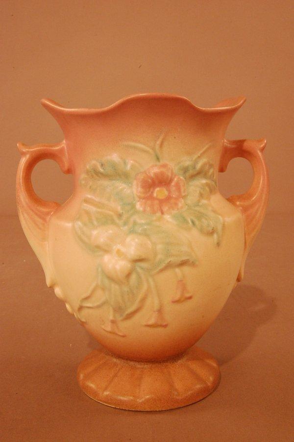 "22: Hull Art Pottery 2 Handled Vase 6 1/2"" t x 5 1/2D c"