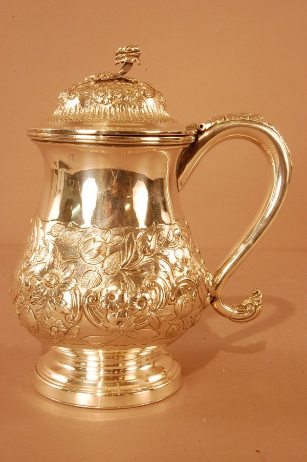24: Victorian Plated Tankard with Attached Lid. Body De
