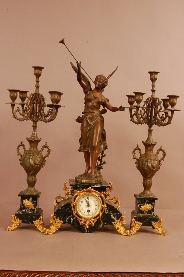 214: French 3 Piece Figural Clock, Spelter Figure of R