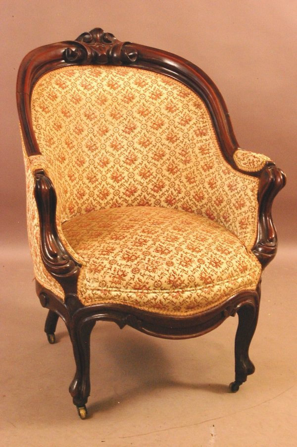 215: Early Victorian Walnut Ladies Arm Chair.  Finger C