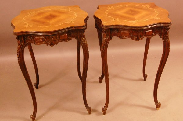 220: Pair of French Style Louis XV Walnut Lamp tables w