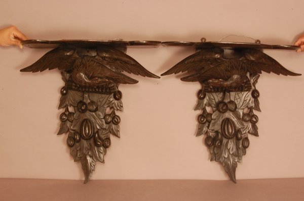 "223: Pair of Carved Walnut Clock Shelves.  21"" T x 21"""