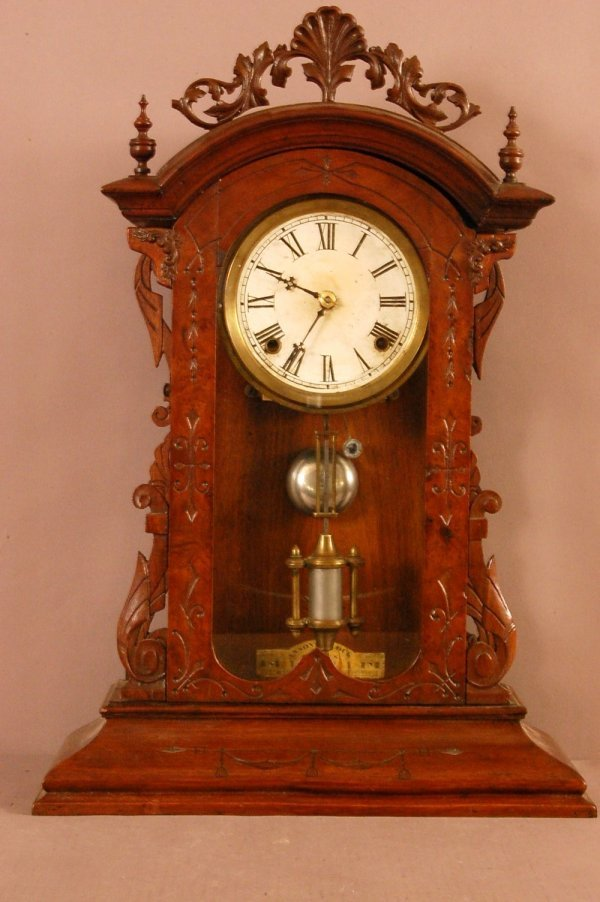 225: Ansonia Walnut Parlor Clock  shell carved crest, t