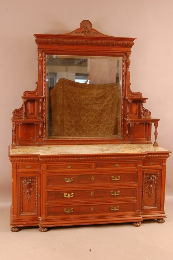 274: American Victorian Mahogany Sideboard, Shell Carve