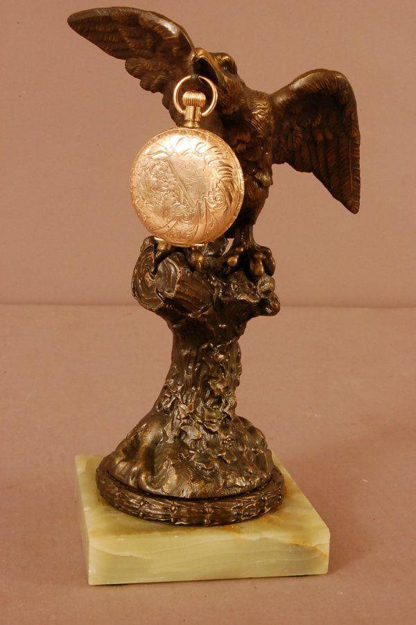 Bronze Eagle pocket watch holder on onyx base with